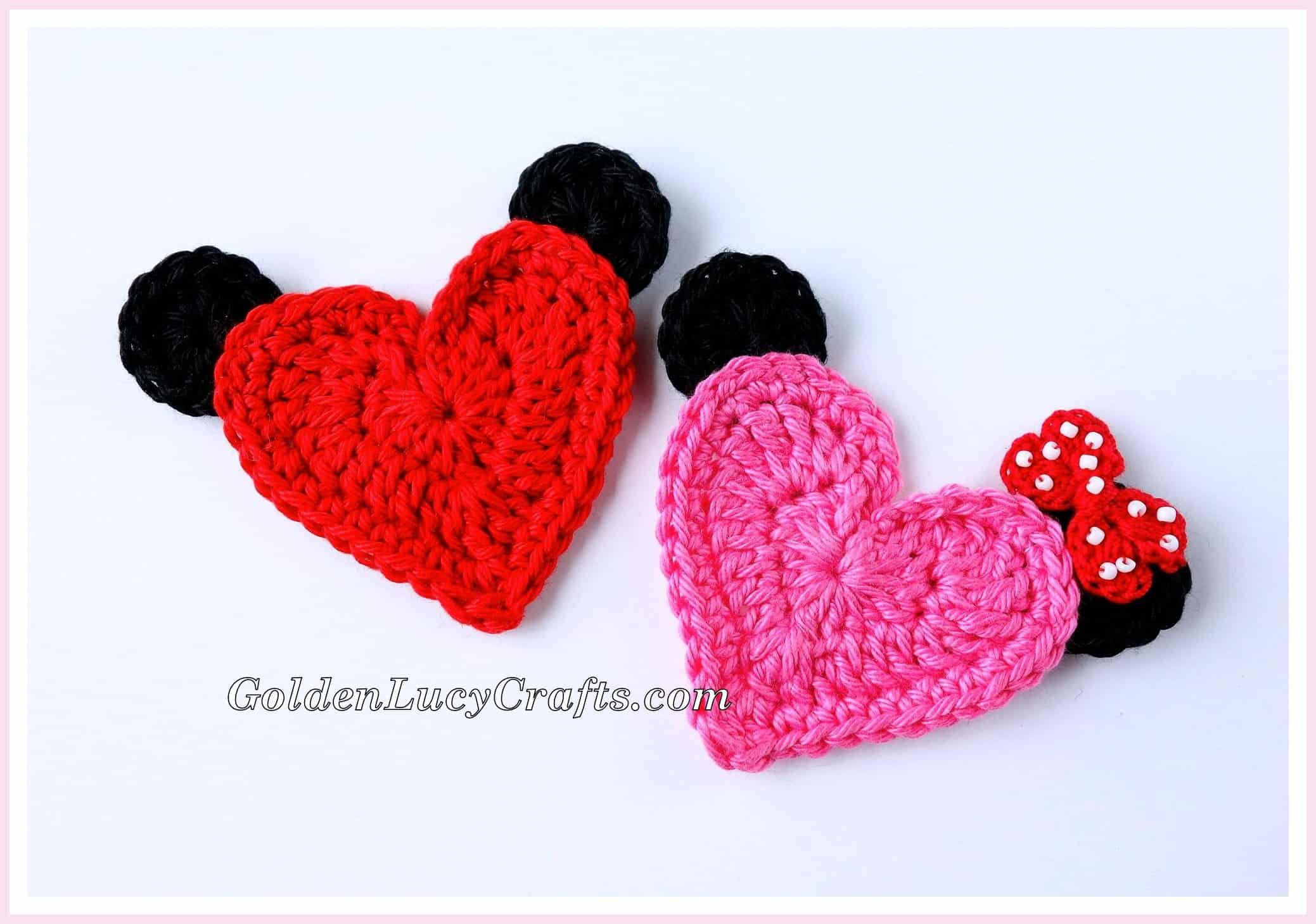 Mickey Mouse Crochet Applique, Minnie Mouse, Heart Shaped, Free ...