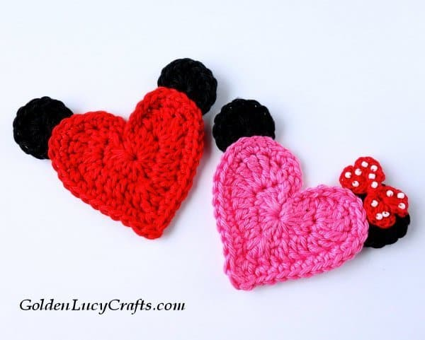 Crochet Mickey and Minnie appliques, free crochet pattern, heart-shaped