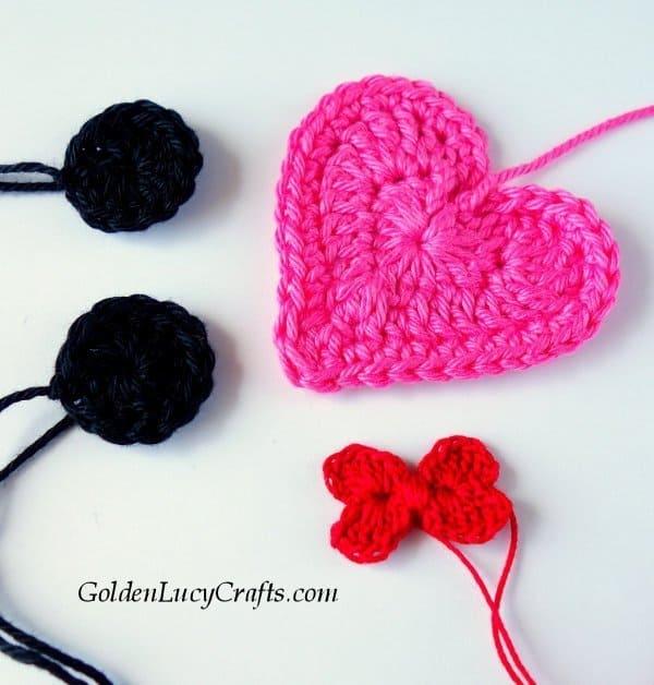 Crochet Mickey applique, heart shaped
