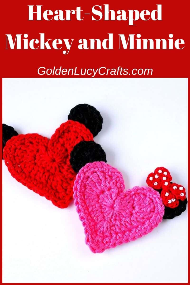 Crochet applique Mickey Mouse, heart shaped, free crochet pattern