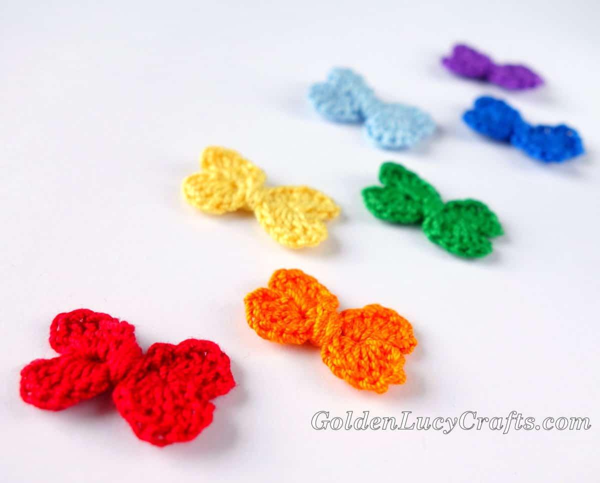 Crochet tiny bows.