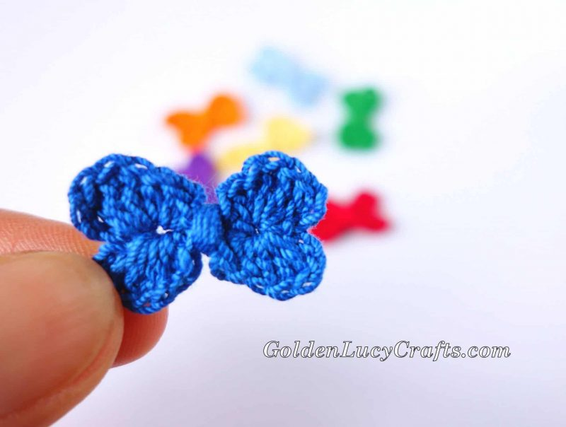 How to crochet small bow, mini bow, instructions, video tutorial