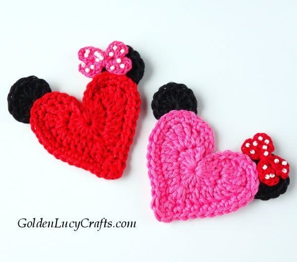 Crochet Mickey Mouse, Minnie, heart-shaped, applique, free pattern, Valentine's day