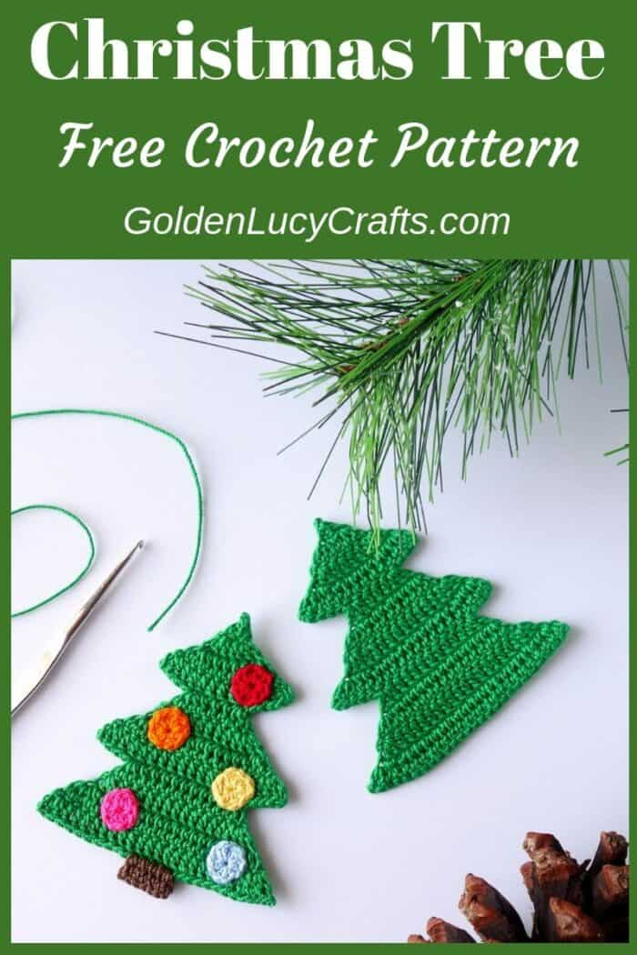 Crochet Christmas tree applique, ornament, free pattern