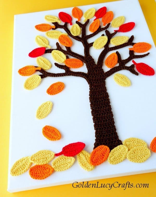 Crochet fall wall art, wall decor