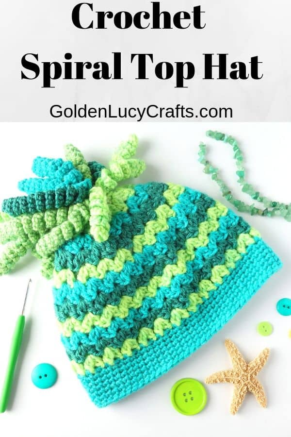 Crochet hat, messy bun, spiral top hat