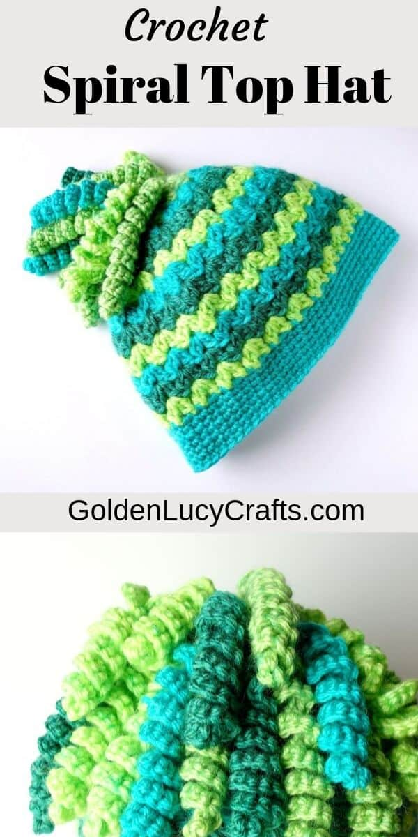 Crochet hat with spiral top