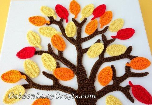 Crochet wall art Fall