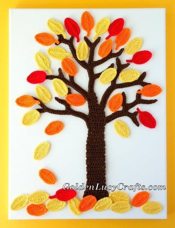 Crochet fall wall art, wall decor, Fall tree crochet wall hanging