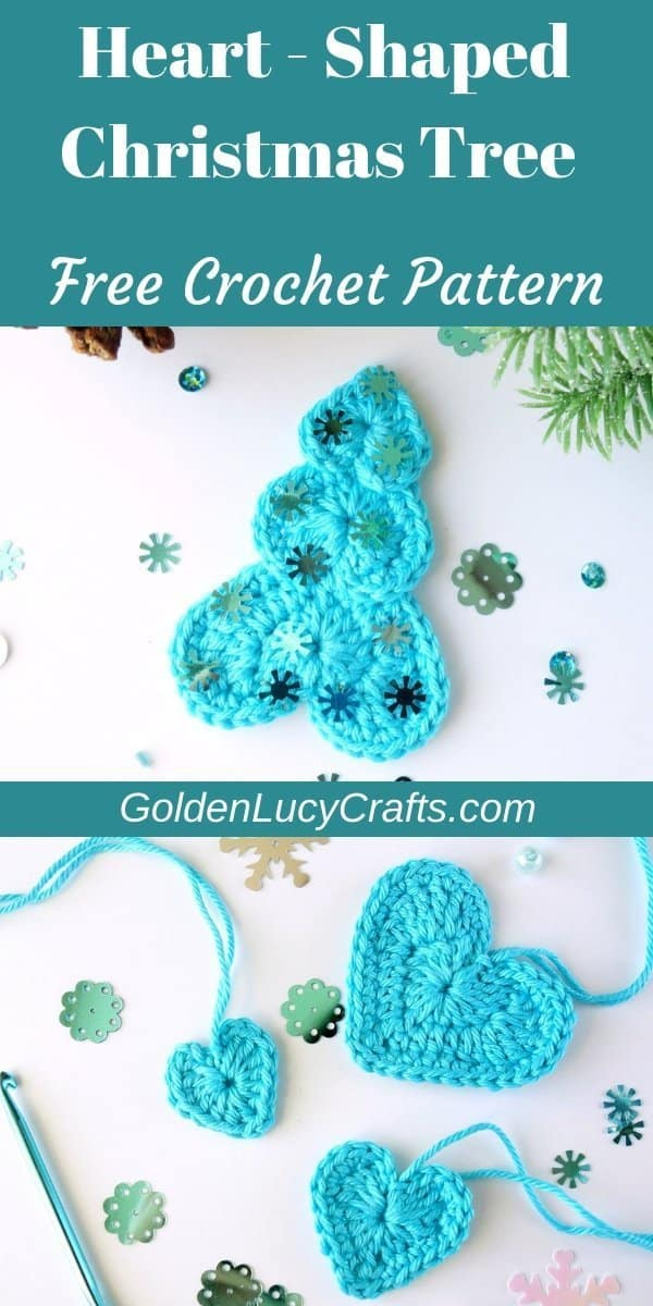 Chrochet Christmas tree, heart shaped, free pattern