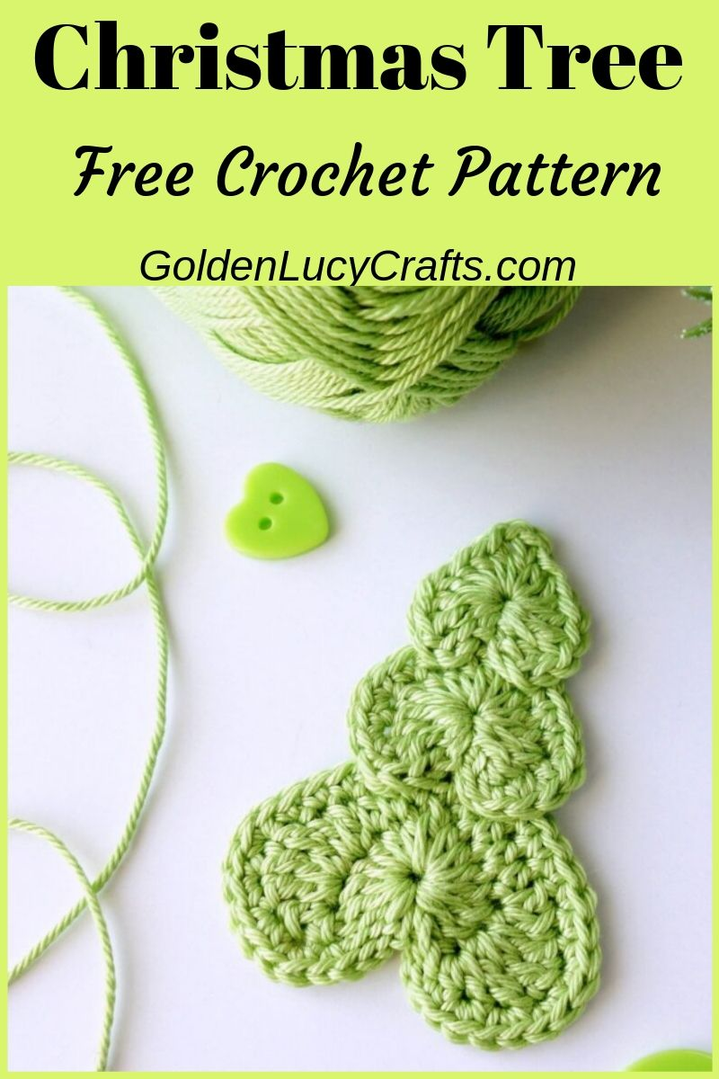 Crochet Christmas tree applique, made from hearts, free pattern