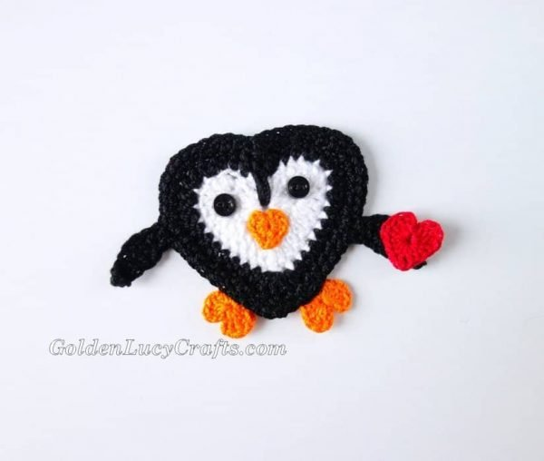 Crochet Penguin applique, Valentine's Day, free crochet pattern