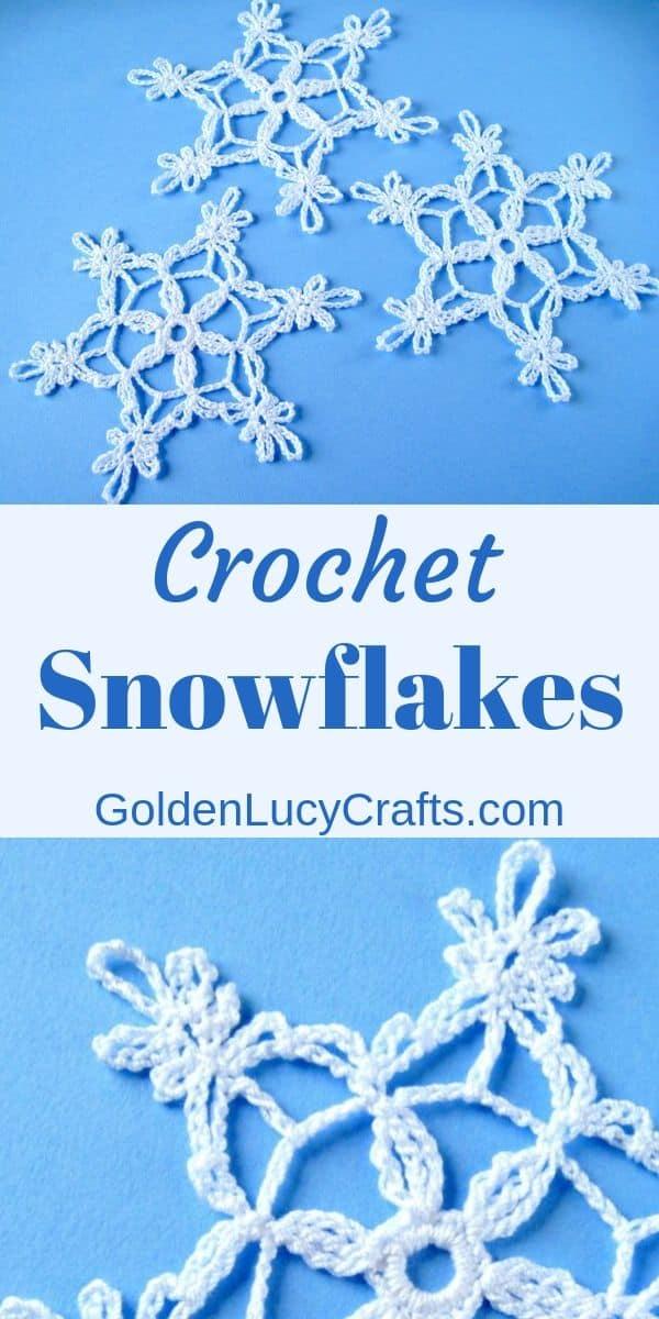 Crochet snowflake, lacy snowflake, free crochet pattern