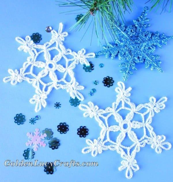 Crochet snowflake, lacy snowflake, free crochet pattern, Christmas crochet
