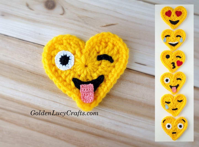 Crochet Emoji Valentines – Crazy Face