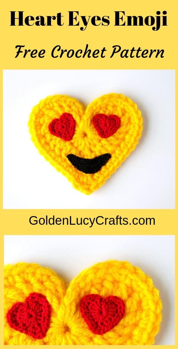 Crochet Emoji, heart eyes crochet emoji