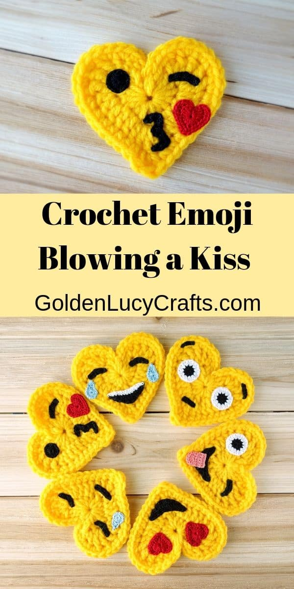 Crochet blowing a kiss emoji, free crochet pattern