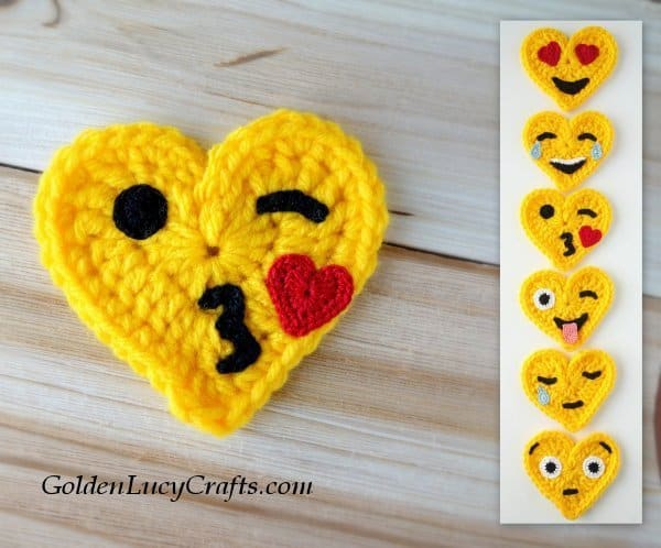 Crochet emoji, blowing a kiss emoji, free pattern