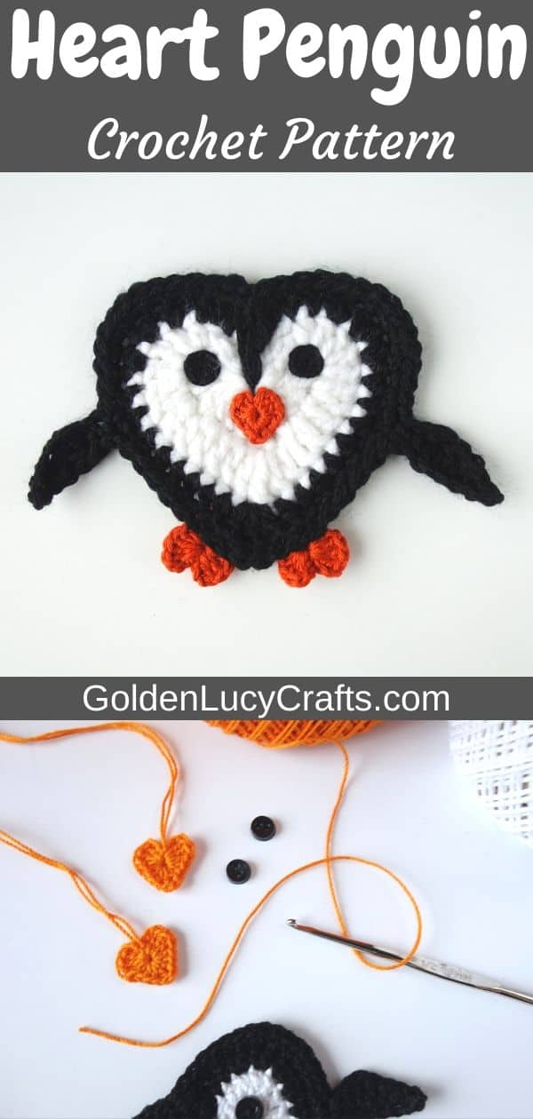 Crochet heart-shaped penguin applique, free crochet pattern