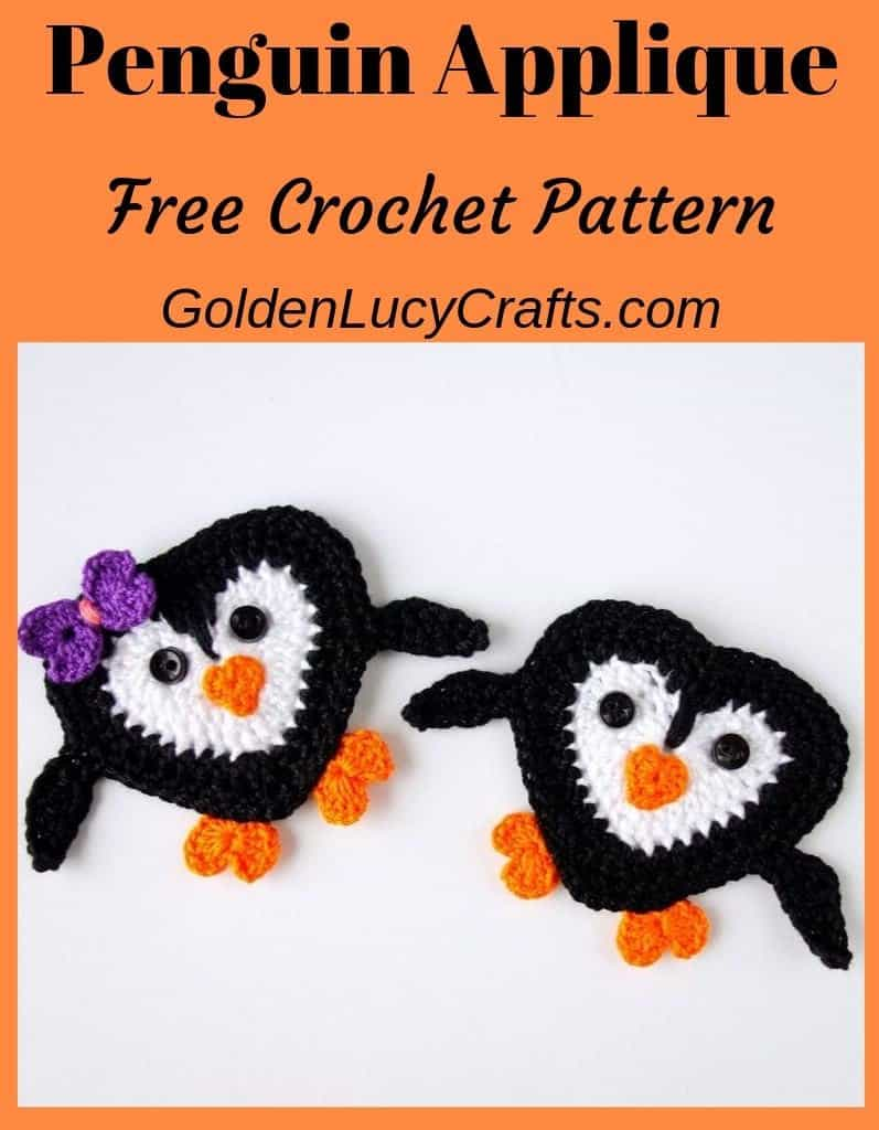 Crochet penguin applique, free crochet pattern