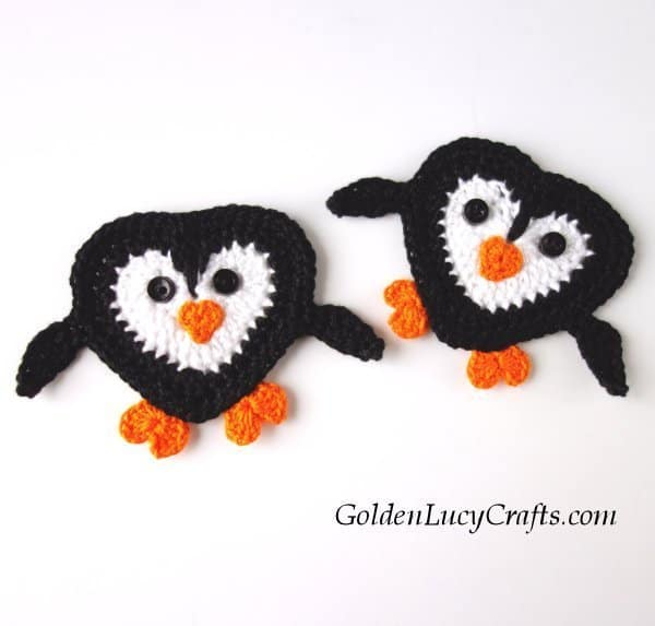 Crochet penguin applique , penguin free crochet pattern