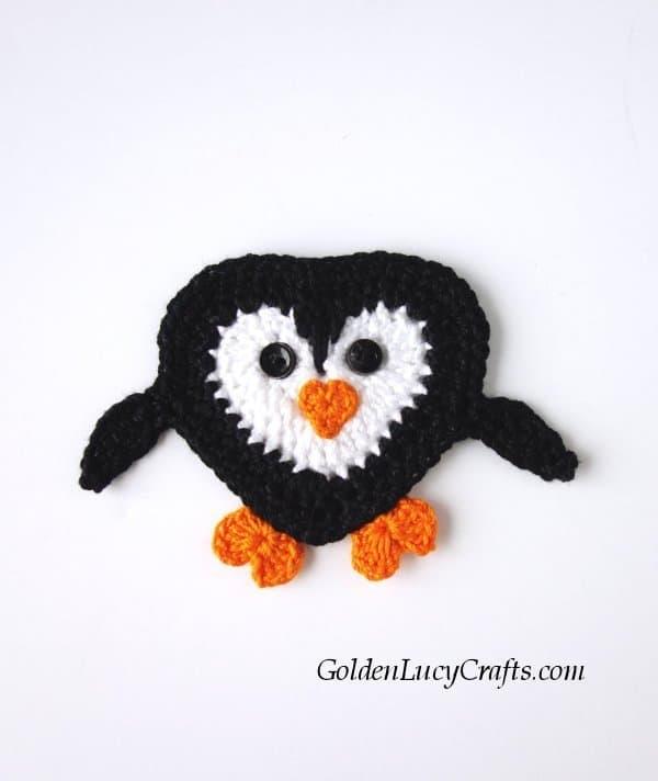 Crochet penguin applique free pattern