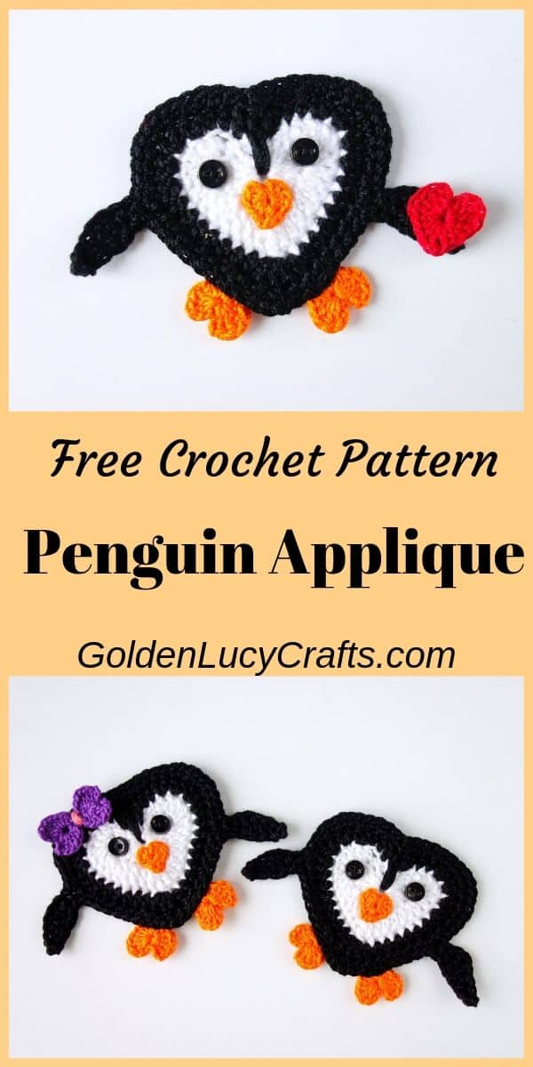 Crochet penguin pattern, crochet penguin applique, heart penguin crochet pattern free, heart shaped penguin