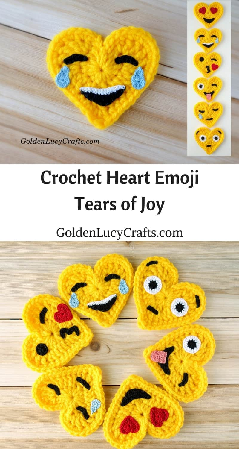 Crochet emoji pattern free, heart emoji, Tears of Joy