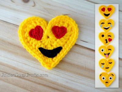 Heart Eyes Crochet Emoji, free crochet pattern
