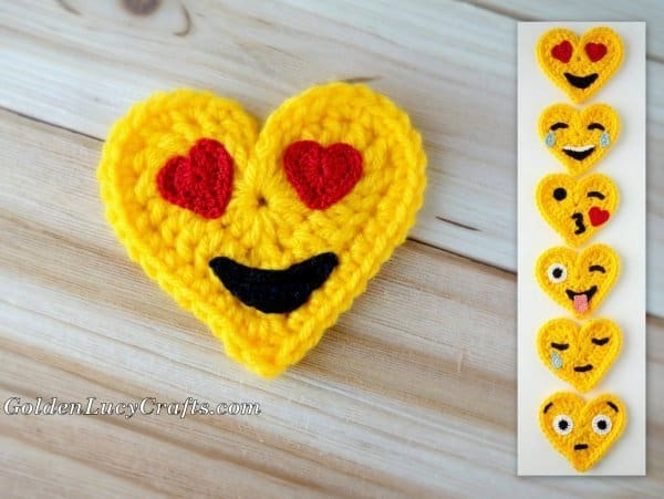 Heart Eyes Crochet Emoji, free crochet pattern