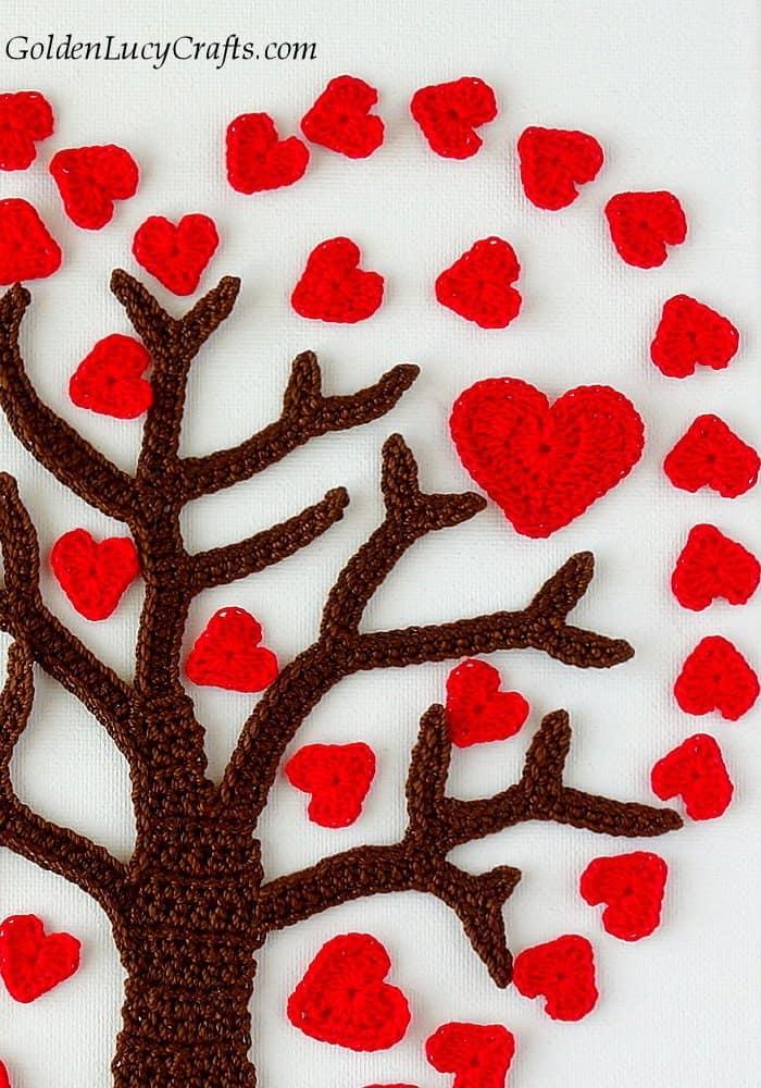 Crochet Valentines Day Heart tree, wall art