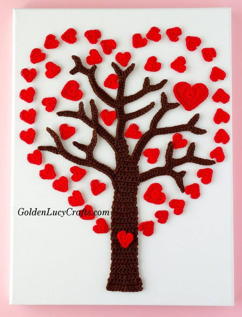 Crochet Valentines Heart Tree