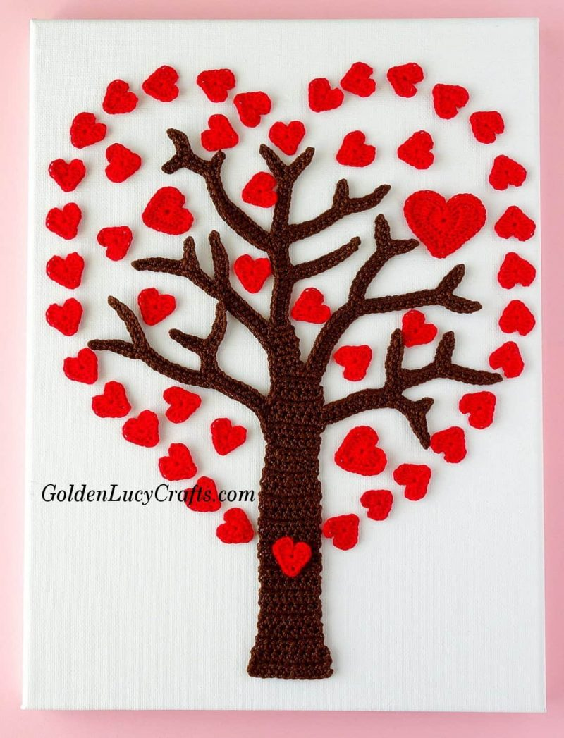 Crochet Valentines Day Heart tree, wall art, wall decor idea, inspiration