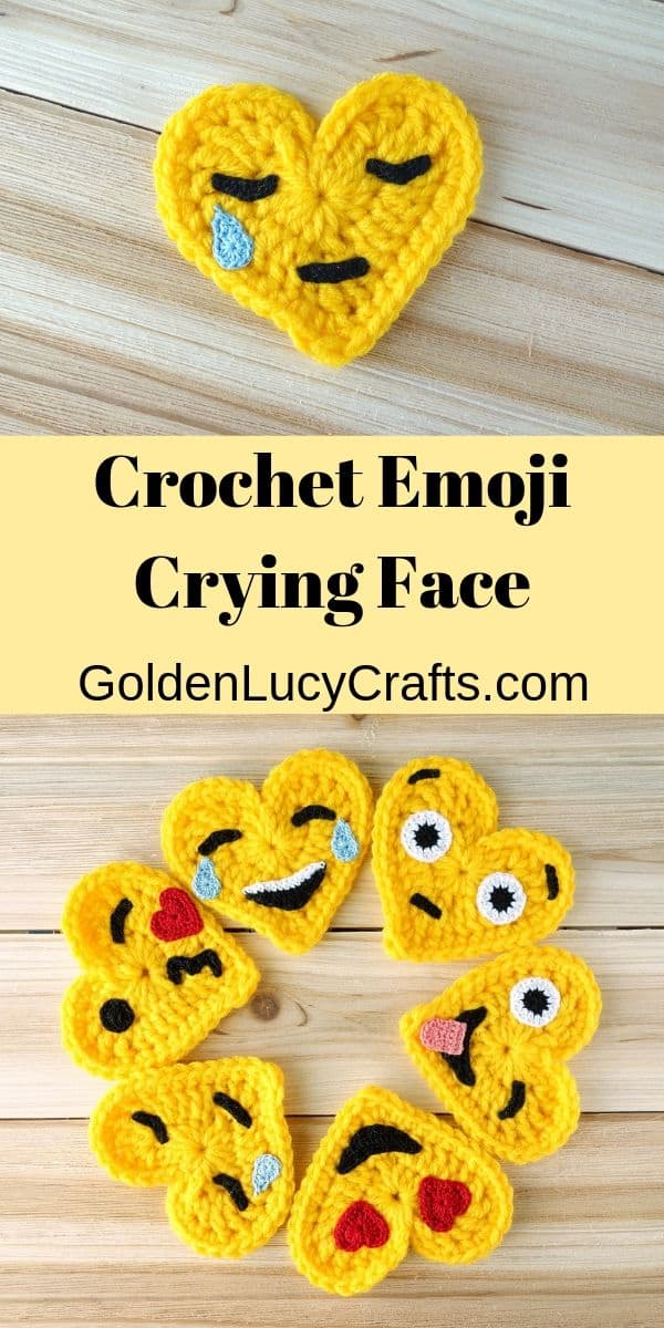 Crochet emoji, crying face, free crochet pattern