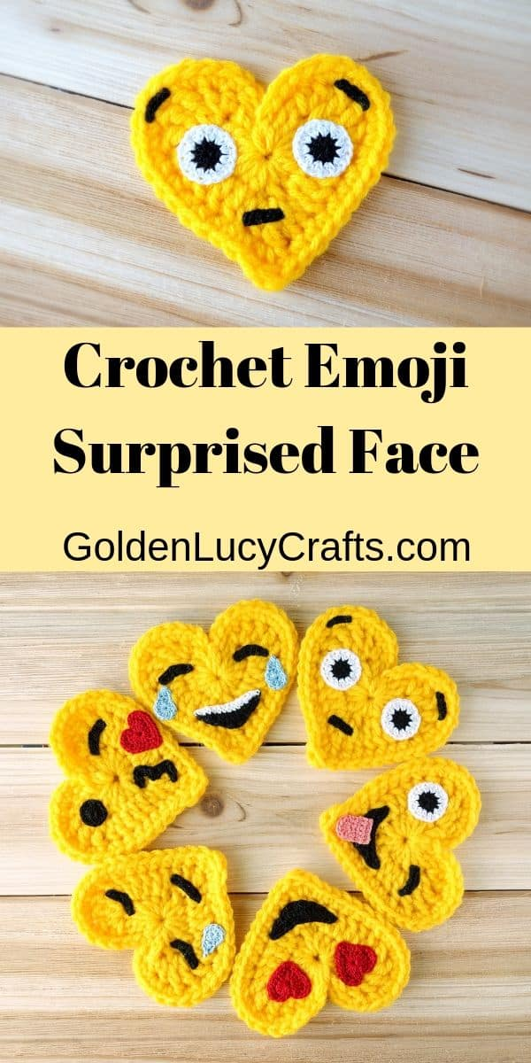 Crochet emoji, surprised face, free pattern