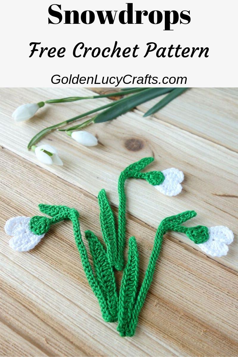 Crochet snowdrop flower, crochet applique, free pattern