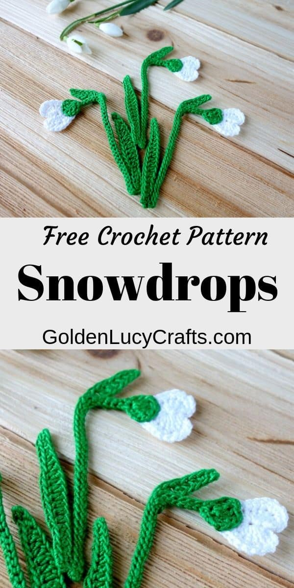 Crochet snowdrop flower, crochet applique, free pattern