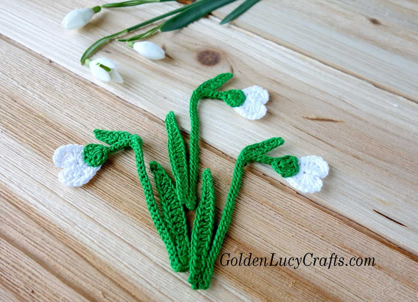 Crochet Snowdrop Flower Free Crochet Pattern Goldenlucycrafts
