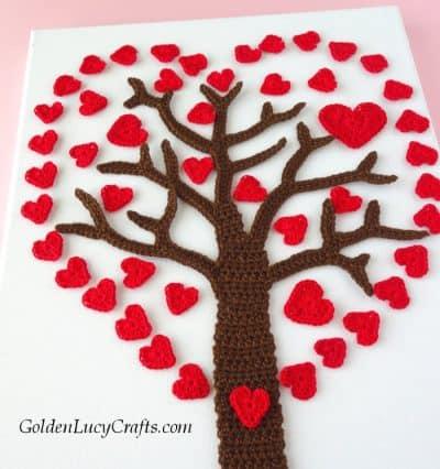 Valentines Day Heart Tree, crochet wall art idea