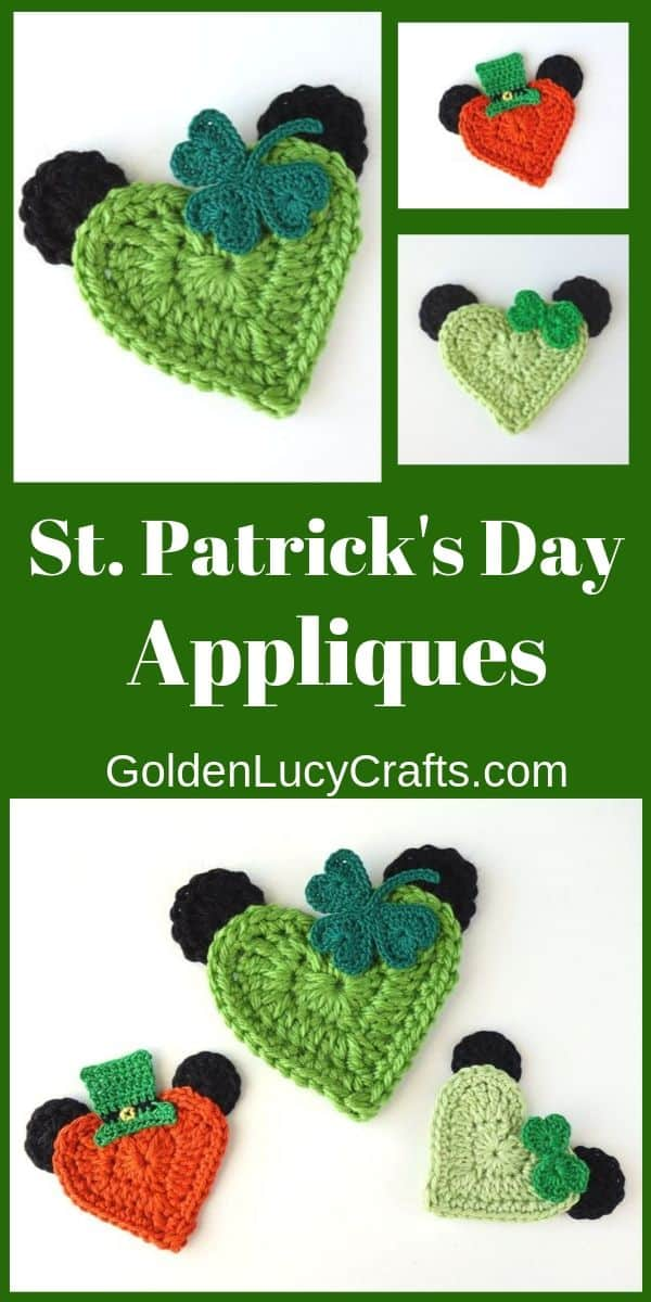 Crochet appliques, St Patrick's Day, Heart Mickey and Minnie Mouse, free crochet pattern