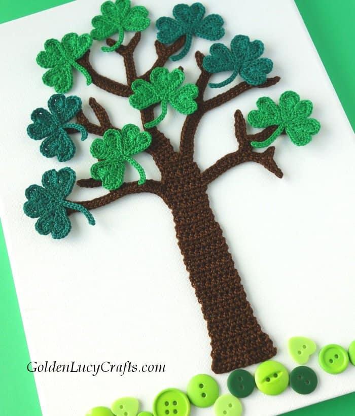 Crochet shamrock tree, wall art, St Patrick's Day