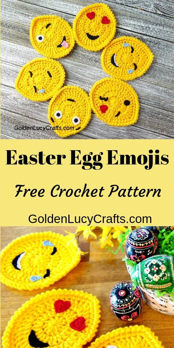 Easter egg emojis, crochet pattern free