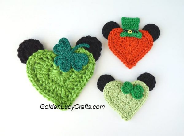 Crochet St Patrick's day appliques, heart-shaped Mickey and Minnie, free crochet pattern, holiday crochet