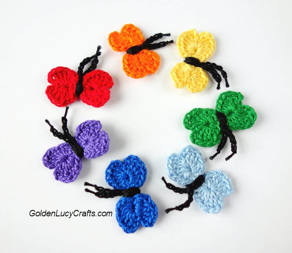 Crochet Butterfly - part of summer crochet applique patterns collection