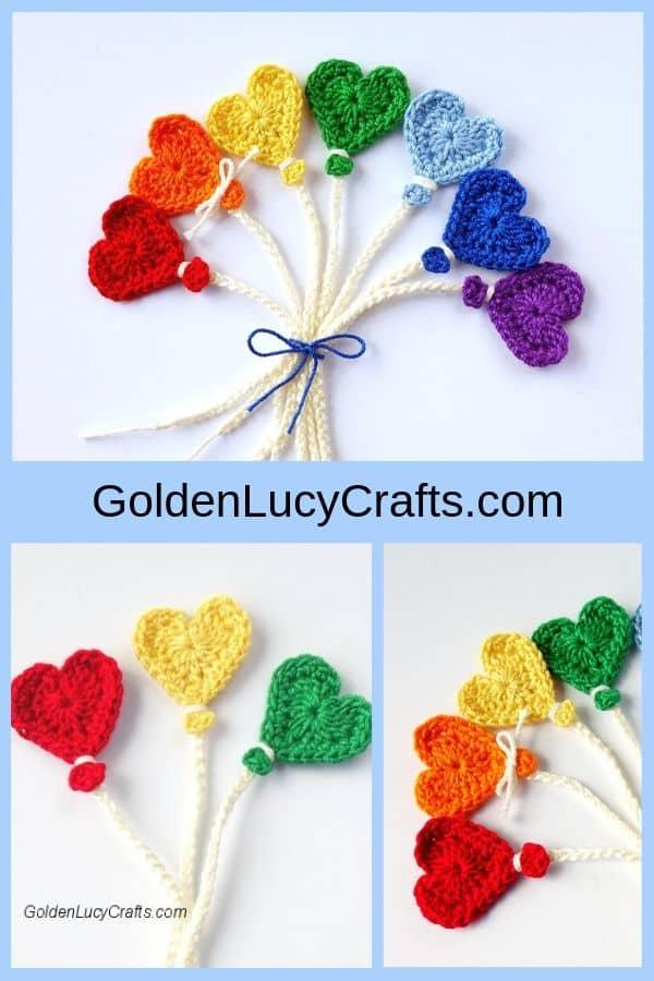 Crochet heart-shaped balloons, photo collage