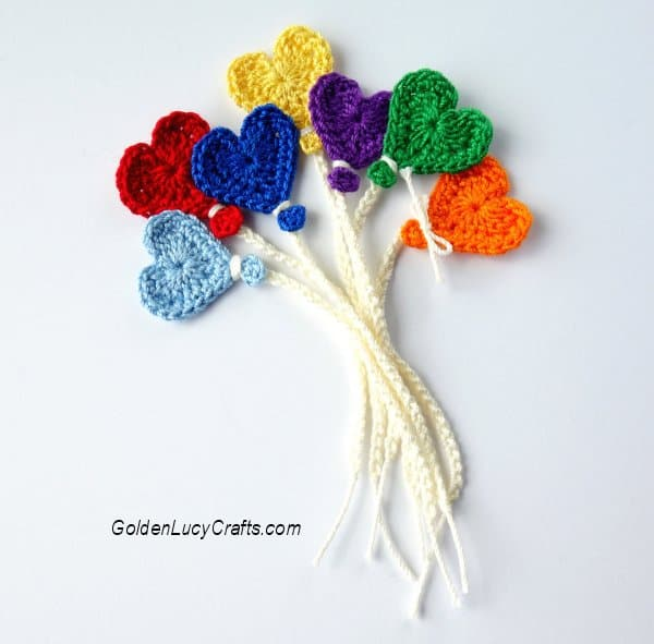 Crocheted heart balloons in rainbow colors,  applique