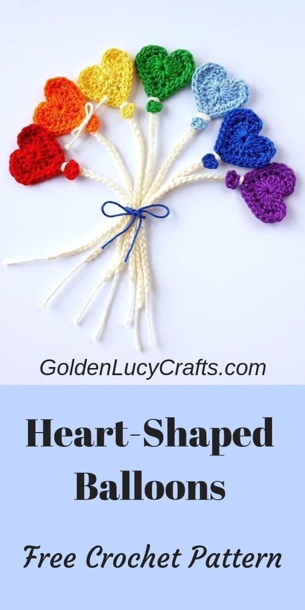 Crochet balloon applique, heart-shaped balloons, free crochet pattern