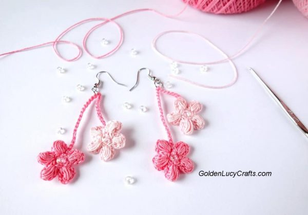 Crochet Cherry Blossom Earrings DIY