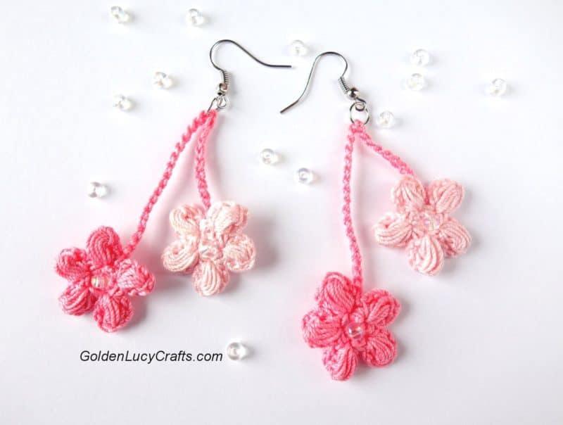 Crochet Earrings Cherry Blossom Free Crochet Pattern