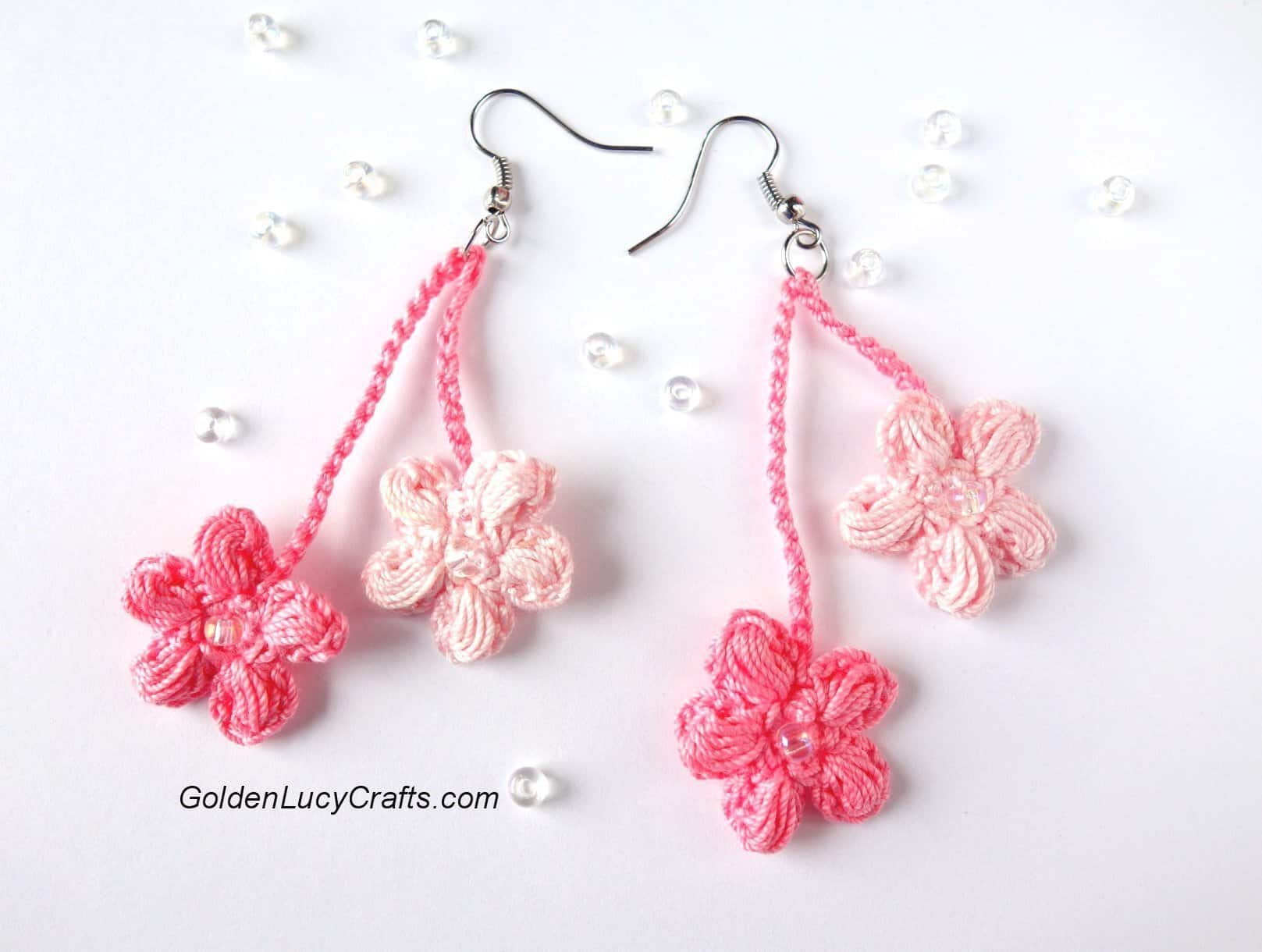 Crochet Earrings Cherry Blossom